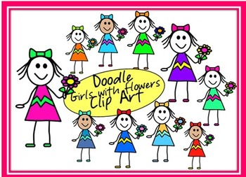 Doodle Girls with Flowers Clip Art