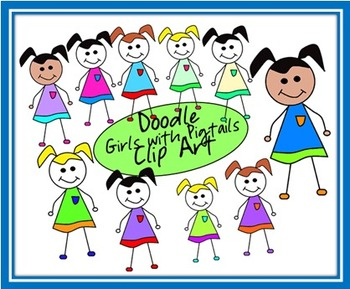 Doodle Girls with Pigtails Clip Art