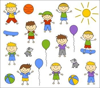 Doodle Happy Kids Boys Clip Art Set