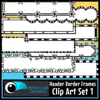Doodle Headers Clip Art Set 1: Clip Art Headers, Title Frames