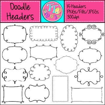 Doodle Headers/Labels/Tags Clip Art CU OK