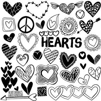 Doodle Heart Black Line and Silhouette ClipArt, Valentine, Mother's Day
