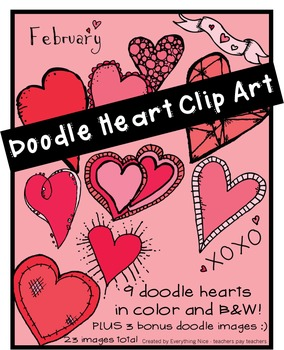 Valentine's Day-Doodle Hearts Clip Art