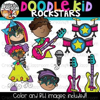 Doodle Kid Rockstars Clip Art {Rockstar Clipart}