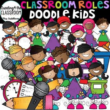 Doodle Kids Classroom Roles Clip Art {Kid Clip Art}
