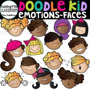 Doodle Kids Emotions Faces Clip Art {Emotions Clip Art}