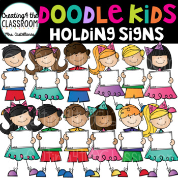 Doodle Kids Holding Signs {Kid Clip Art}