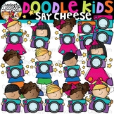 Doodle Kids Say Cheese Clip Art {Kids with cameras clip art}