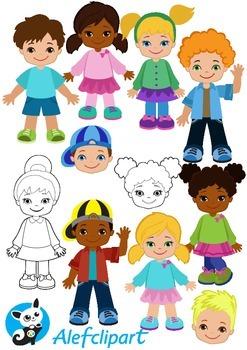 Doodle Kids and Faces. Children illustrations. Big Bundle.