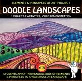 Art Lesson - Doodle Landscape - Elements of Art Project