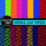 Doodle Leaf Papers {Creative Clips Digital Clipart}