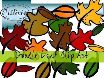 Doodle Leaves Clip Art - Color and Line Art