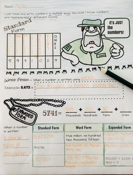 Doodle Math Notes: Place Value Number Forms