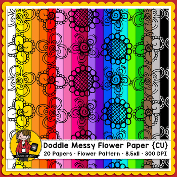 Doodle Messy Flowers Digital Paper  {Paper Overlays for CU}