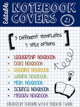 Doodle Notebook Covers - EDITABLE