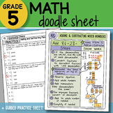 Doodle Notes - Adding & Subtracting Mixed Numbers - So EASY to Use! PPT Included