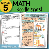 Doodle Notes - Adding and Subtracting Mixed Numbers - Regrouping