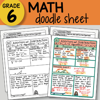 Doodle Notes - Addition and Subtraction Equations - So EASY to Use! PPT included