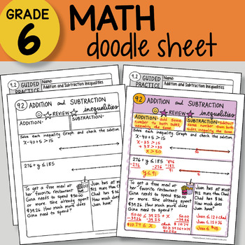 Math Doodle - Addition and Subtraction Inequalities - EASY to Use Notes -