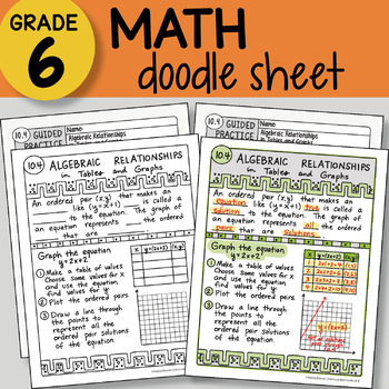 Doodle Notes - Algebraic Relationships in Tables and Graphs - So EASY to Use!