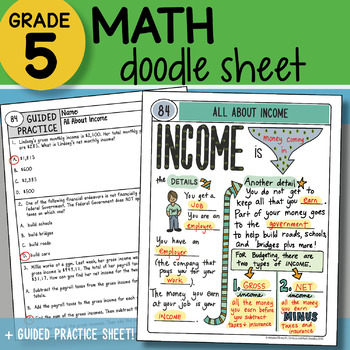 Math Doodle - All About Income - So EASY to Use! PPT Included!