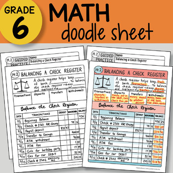 Doodle Notes - Balancing a Check Register - So EASY to Use! PPT included