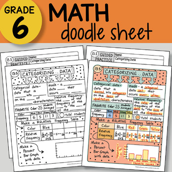 Math Doodle - Categorizing Data - EASY to Use Notes - PPT included!
