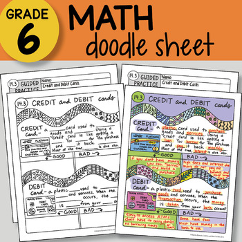 Math Doodle - Credit and Debit Cards - EASY to Use Notes - PPT included!
