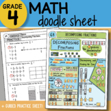 Doodle Sheet - Decomposing Fractions - So EASY to Use! PPT Included
