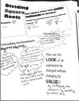 Doodle Notes - Dividing Square Roots