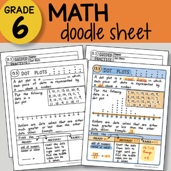 Math Doodle - Dot Plots - EASY to Use Notes - PPT included!