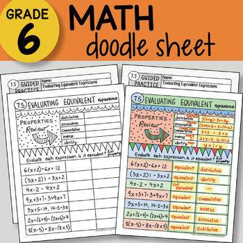 Math Doodle - Evaluating Equivalent Expressions -  EASY to Use Notes -