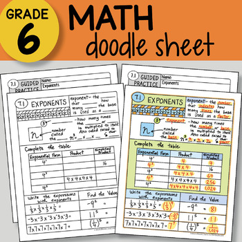 Doodle Notes - Exponents - So EASY to Use! PPT included