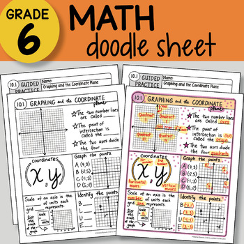 Doodle Notes - Graphing and Coordinate Plane - So EASY to Use! PPT included
