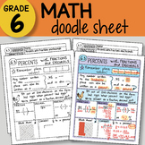 Doodle Sheet Math - Percents with Fractions and Decimals -  EASY to Use Notes -