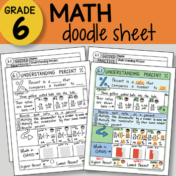 Doodle Notes Math - Understanding Percent - So EASY to Use! PPT included