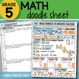 Math Doodle - Mixed Numbers to Improper Fractions - PPT Included!