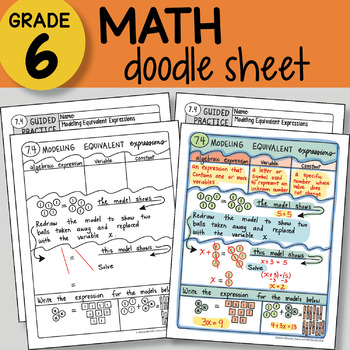 Doodle Notes - Modeling Equivalent Expressions - So EASY to Use! PPT included