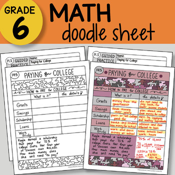 Doodle Notes - Paying for College - So EASY to Use! PPT included
