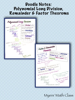 Doodle Notes - Polynomial Long Division, Remainder Theorem, & Factor Theorem