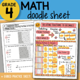 Doodle Sheet - Relating Fractions to Decimals - So EASY to