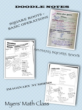 Doodle Notes BUNDLE - Sq Rts Basics, Div. Sq Rts, Imag. Numbers