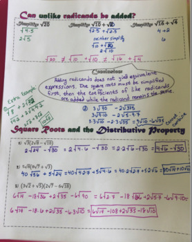 Doodle Notes - Square Roots Basics
