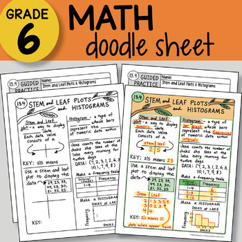 Doodle Notes - Stem and Leaf Plots & Histograms - So EASY to Use! PPT included