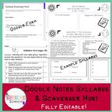 Doodle Notes Syllabus & Scavenger Hunt Bundle (Google Drive -Fully Editable)
