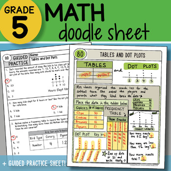 Math Doodle - Tables & Dot Plots - So EASY to Use! PPT Included!