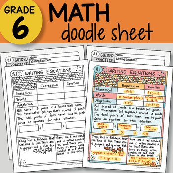 Doodle Notes - Writing Equations - So EASY to Use! PPT included