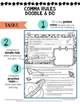 Doodle Notes and Grammar Worksheets - Comma Rules