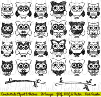 Doodle Owl Clipart or Digital Stamps