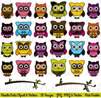 Doodle Owls Clipart Clip Art